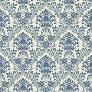 Wallpaper-Waverly-Blue-Teal-Damask-on-Eggshell-White