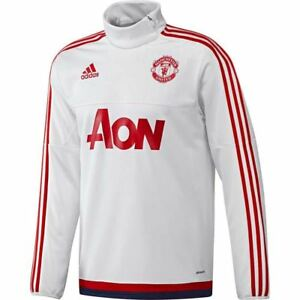 5b42d98c2fc adidas MANCHESTER UNITED FOOTBALL TRAINING TOP 15 16 WHITE CLIMACOOL ...