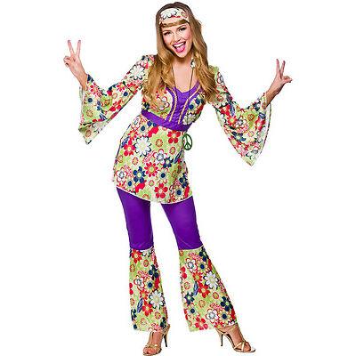 70's Tracy Flower-Power Kostüm NEU - Damen Karneval Fasching Verkleidung Kostüm