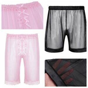 Men-039-s-Lingerie-Sissy-Boxer-Shorts-Underwear-See-through-Lounge-Pants-Nightwear
