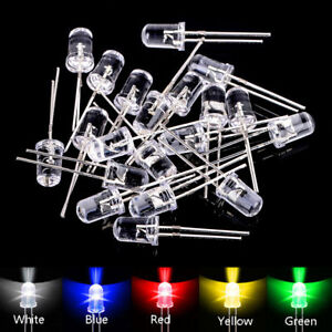 100-Stueck-5mm-LED-Sortiment-Lampe-Rot-Gruen-Gelb-Blau-Weiss-Leuchtdioden-Diod