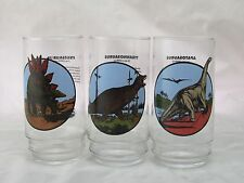 Vintage AMOCO Dinosaur Promo Drinking Glass Lot of 3 T-Rex and More