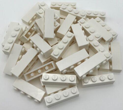 Lego 50 New White Bricks 1 x 4 Dot Pieces Parts