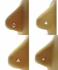 4 Sterling Silver CZ Nose Straight Ball End Bones Thin Pins Studs 22 gauge 22g