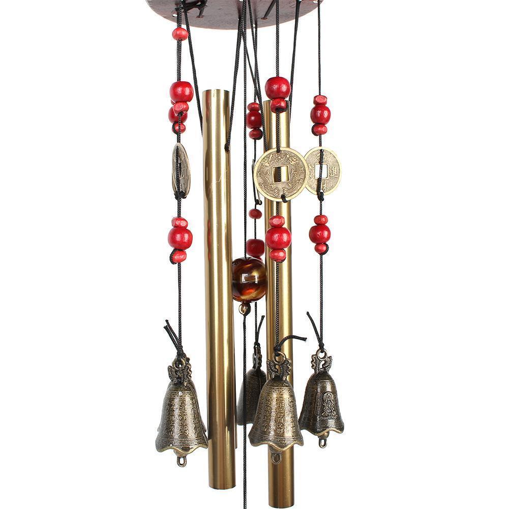 Amazing 4 Tubes 5 Bells Copper Alloy Outdoor Living Wind Bells 60cm Yard Garden