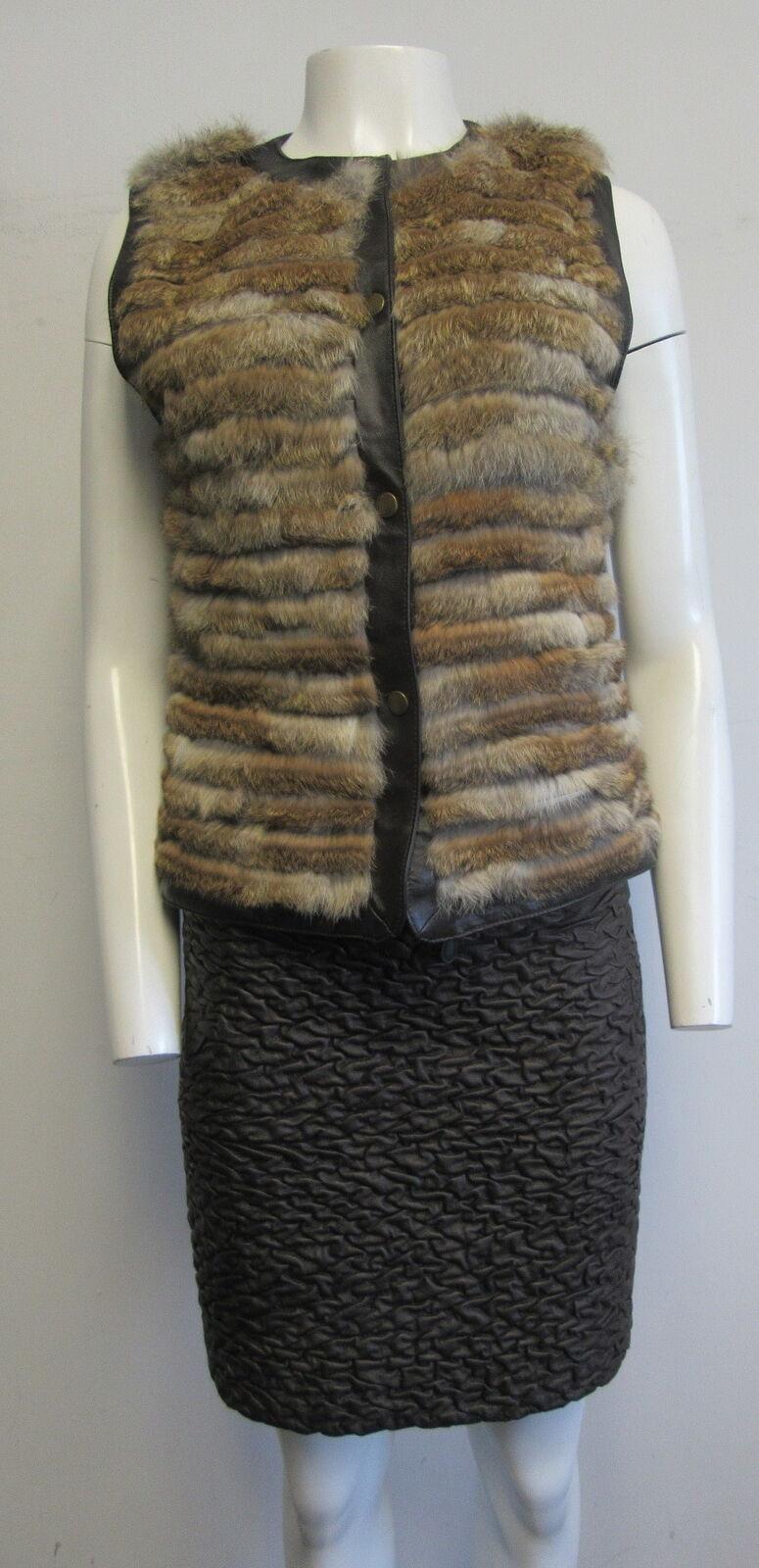 JAVIER SIMORRA brown rabbit fur & polyleather 2 piece skirt outfit sz I 38  US 4