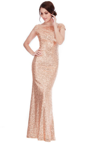 Goddiva Champagne Sequin Open Back Long Maxi Bridesmaid Prom Evening Party Dress
