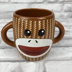 Sock Monkey Coffee Cup Mug Brown White Double Handle Galerie Ceramic