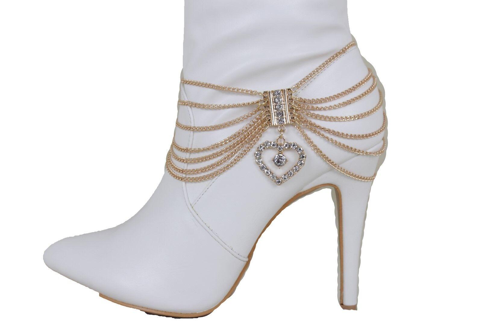 Women Fashion Boot Chains Bracelet Strap Gold Metal Love Heart Bling Shoe Charm