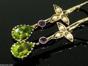 E152-Genuine-9K-Yellow-Gold-Natural-Peridot-Amethyst-Pearl-Earrings-Suffragette