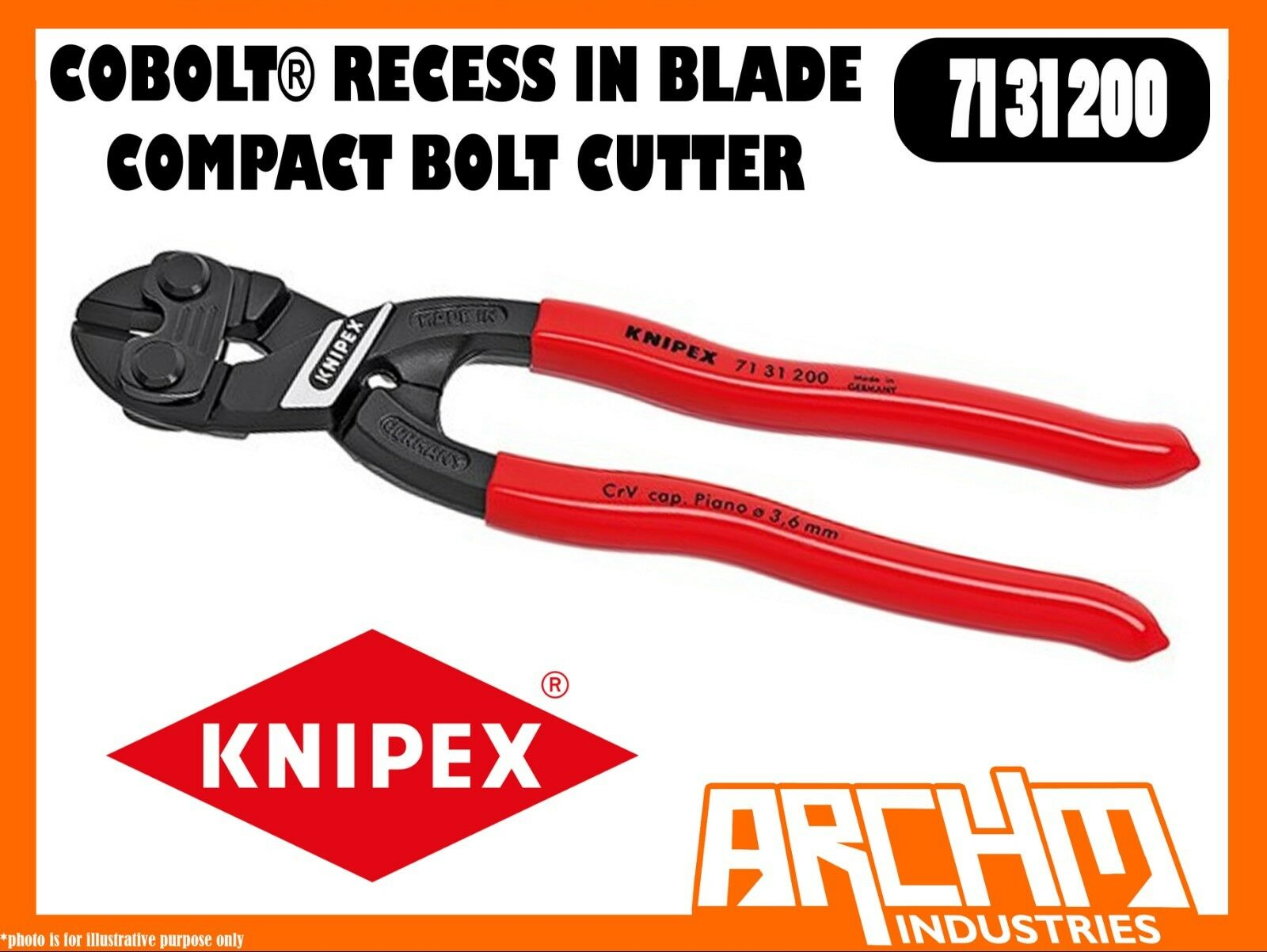KNIPEX 7131200 - COBOLT® - COMPACT BOLT CUTTER RECESS IN BLADE - 200MM