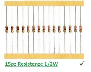 15pz Resistenza 2,7M Ohm 1//2W 0,5W a strato di carbone 5/%