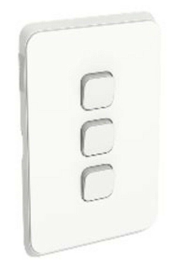 2x Clipsal ICONIC SWITCH PLATE SKINS 3-Gangs Horizontal greenical, Vivid White