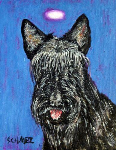 Scottish terrier 4x6 sogned art print angel dog glossy