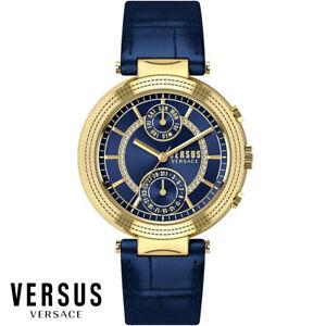 Versus-by-Versace-S79040017-Star-Ferry-gold-blau-Leder-Armband-Uhr-Damen-NEU