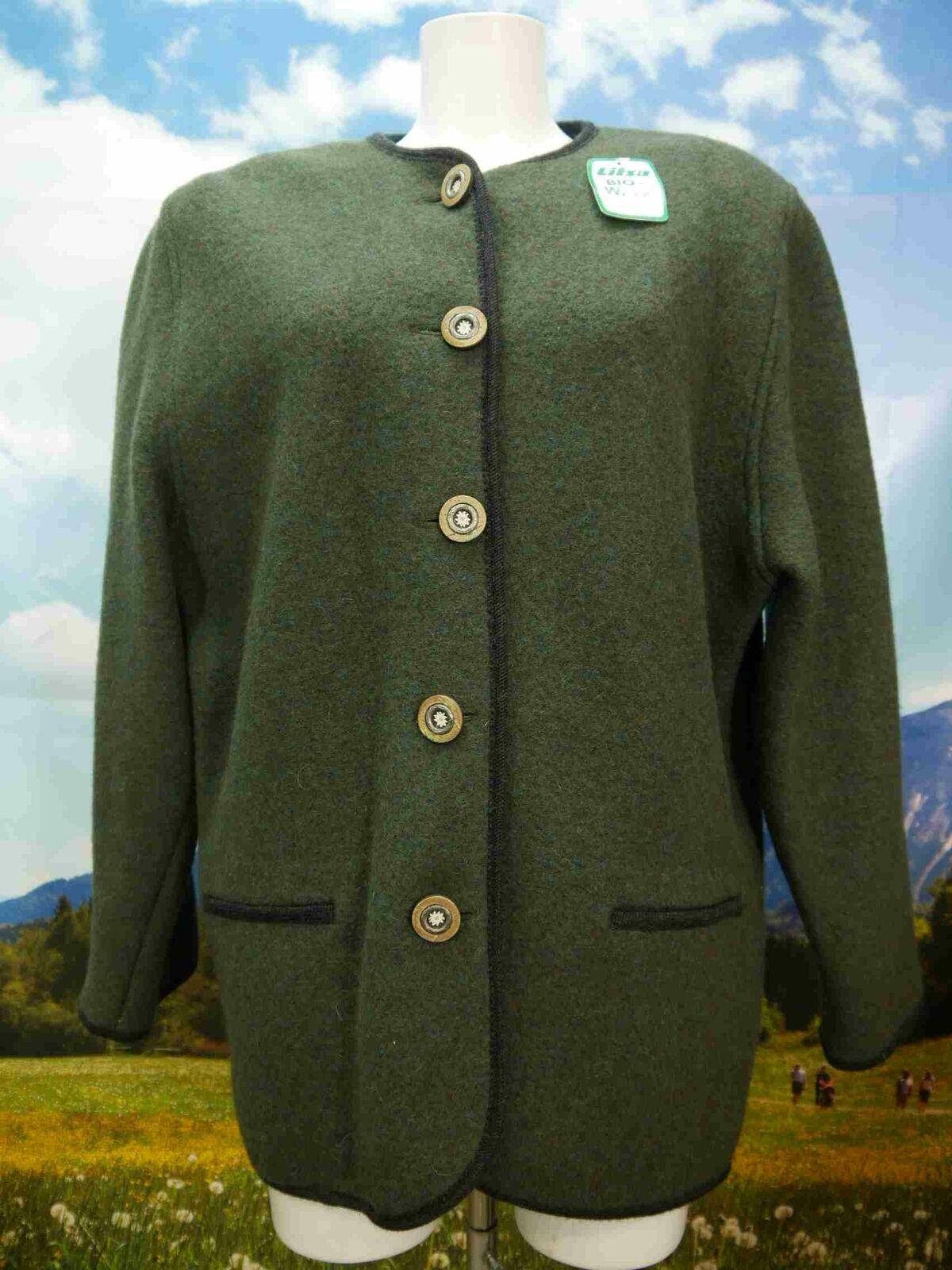 Litza Bavarian neuwertig grün mit Edelweißknöpfen Trachtenjacke Jacke Gr.44