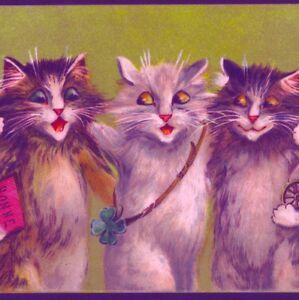 NEAR MINT.!.BOULANGER..SINGING CATS ,NEW YEAR GOOD LUCK,CHROMOLIITH,POSTCARD