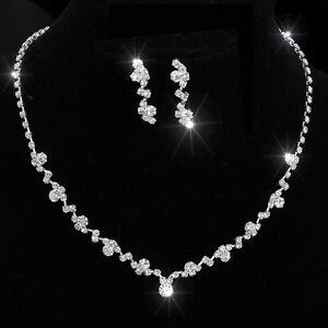 c6326de3c580 La imagen se está cargando Boda-Conjunto-de-Joyas -Cristal-Pedreria-Diamante-Plata-