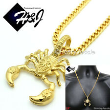 "24""MEN Stainless Steel 4.5mm Gold Cuban Curb Link Chain Scorpion 3D Pendant*GP57"