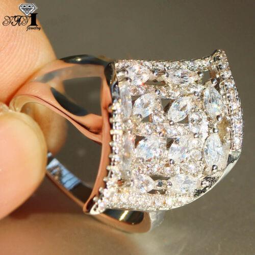 925 silver filled blanc Saphir Pierre de naissance mariage Princesses Bande Anneaux cadeau