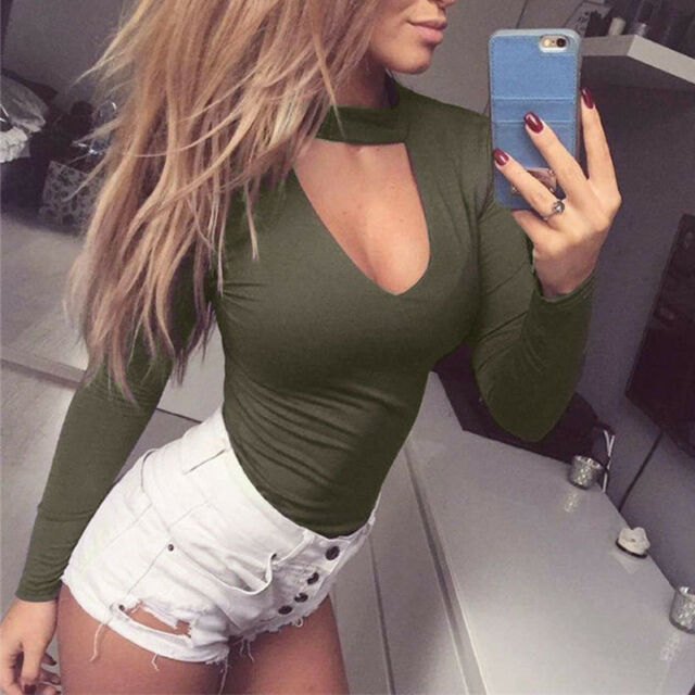 Fashion Women Long Sleeve Shirt Jumpsuit Bodysuit Stretch Leotard Top Blouse NEW