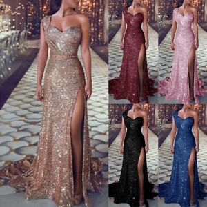Sequin-Prom-Party-Ball-Gown-Sexy-Gold-Evening-Bridesmaid-Women-V-Neck-Long-Dress