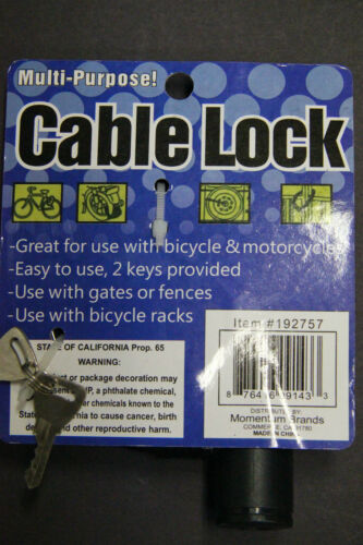 """3FT 36/"""" Bicycle Bike Anti-Theft  Security Steel Cable Lock Chain  WITH 2 Keys BL"""