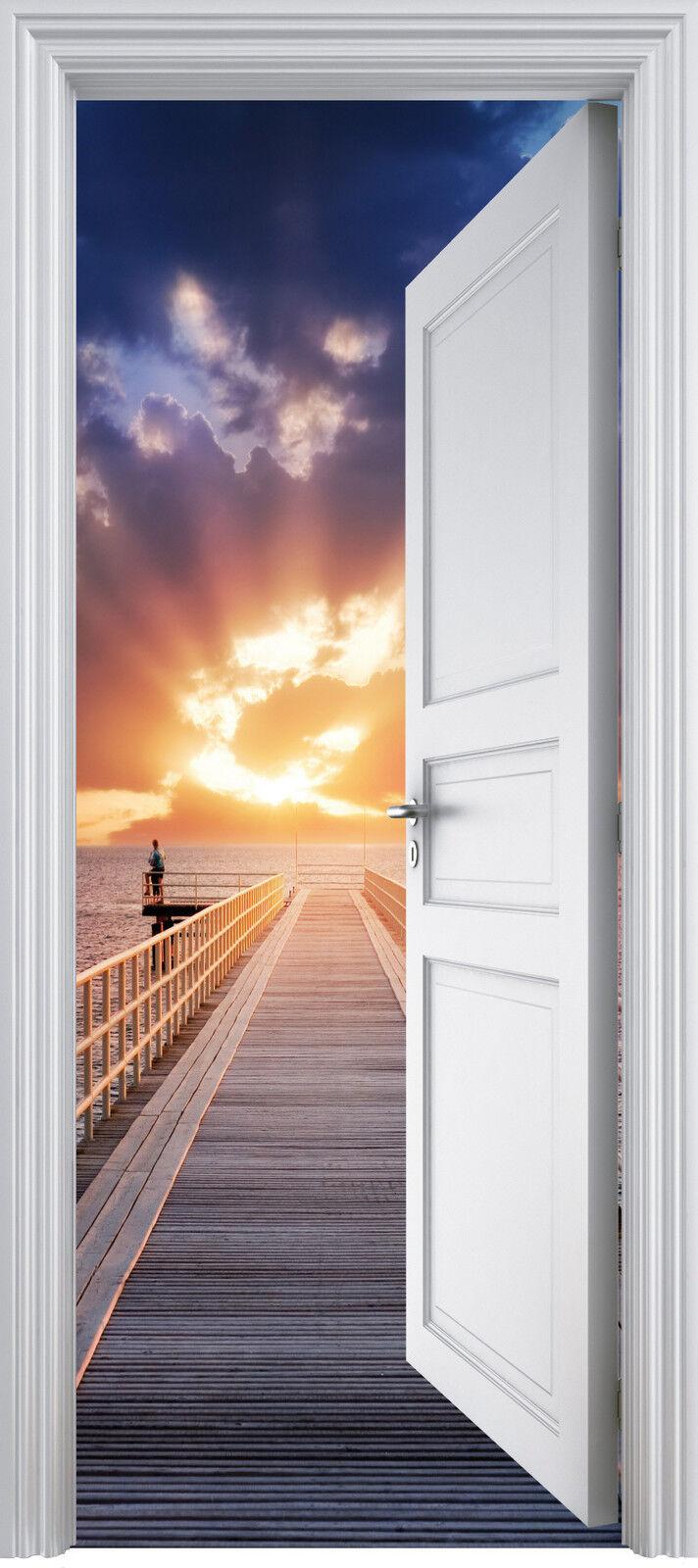 Adhesivo Puerta Trompa Trampantojo Pontón Acostado Del Sol 90x200 cm Ref 321