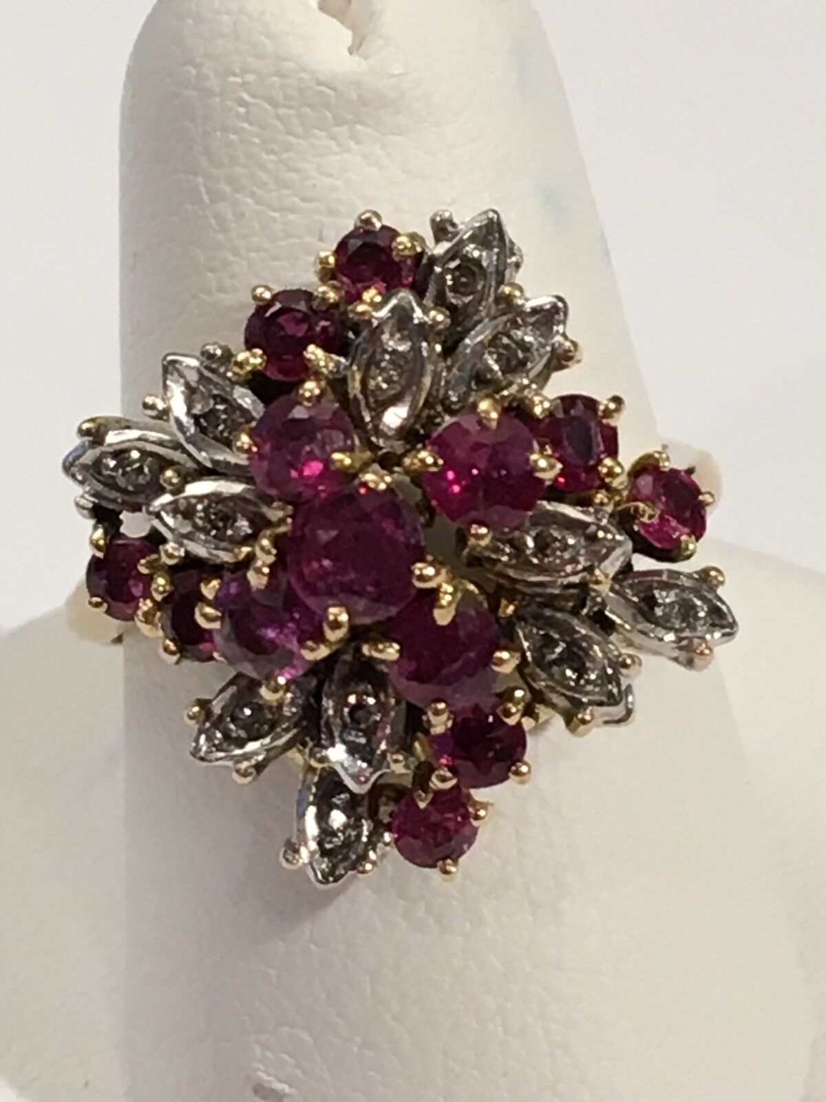 RUBY & DIAMOND 18K WHITE gold VINTAGE CLUSTER RING SZ 7.75 OVERSIZED MAGNIFICENT