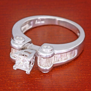 25b65f449c86b Details about 1-1/3 carat tw Princess Cut Baguette Diamond Wedding Ring 14k  White Gold 1.31 ct