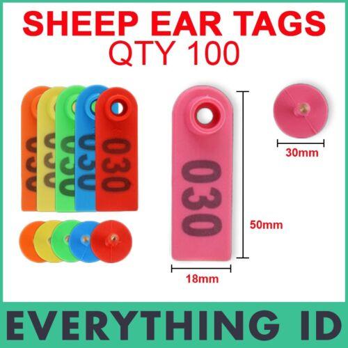 100 numerado 1-100 ovejas cabras Cordero Cerdo Plástico ganado 5x2cm oreja Marcado Etiquetas