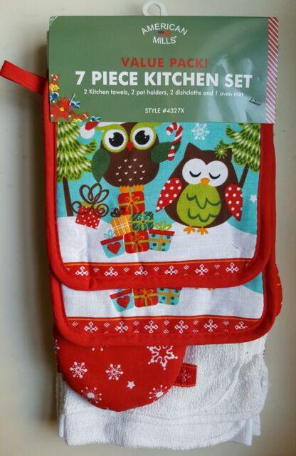 Nwt Owls 7 Pc Kitchen Set Towels Oven Mitt Potholders Dishcloths Winter Decor