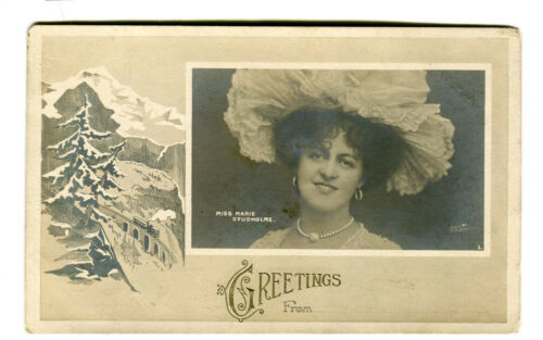 Vintage Postcard MISS MARIE STUDHOLME English Actress & Singer Greetings From..
