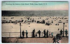 Vintage-Postcard-Watching-Bathers-From-Boardwalk-Long-Beach-NY-Long-Island