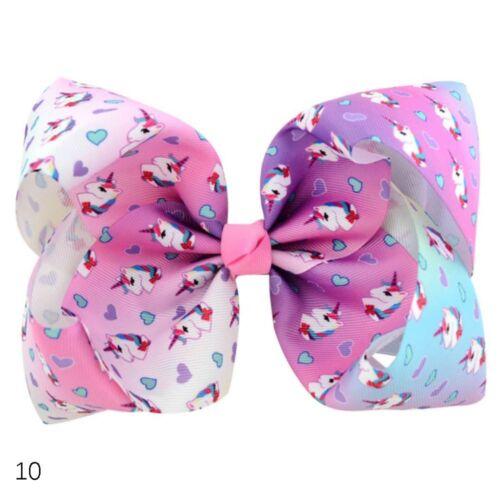 Fashion 8 Inch JOJO Bows Unicorn Baby Hair Barrette Bowknot Headwear Hair Clip
