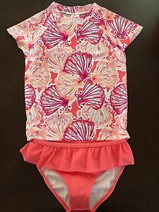 f368f78e00 NWT Gymboree Girl Swim Shop Magenta Seashell Rash Guard Swim Set 5 6 ...