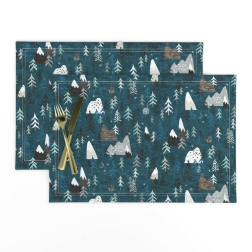 Cloth Placemats Forest Woodland Mountain Rustic Fir Tree Camping Set of 2