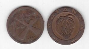 KATANGA-RARE-1-FRANC-COIN-1961-YEAR-KM-1-CROSS