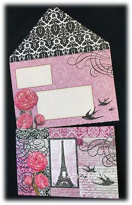Vintage Gifted Line Punch Studio Dragonflies Roses Die-Cut Delicate Note Card