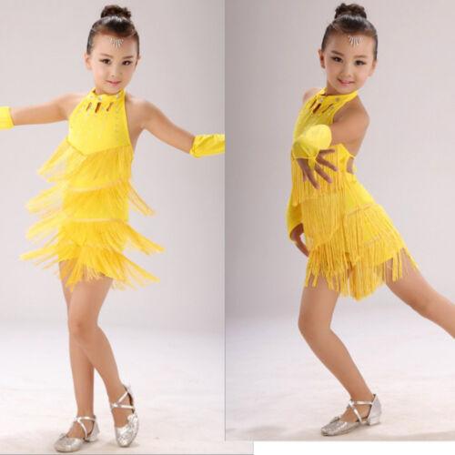 Girls Ballet Latin Dance Dress Kid Gymnastics Leotard Tutu Skirt Fairy Costume