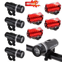 4PCS Waterproof Lamp Bike Bicycle Front 5 LED Head Light +Rear Safety Flashlight