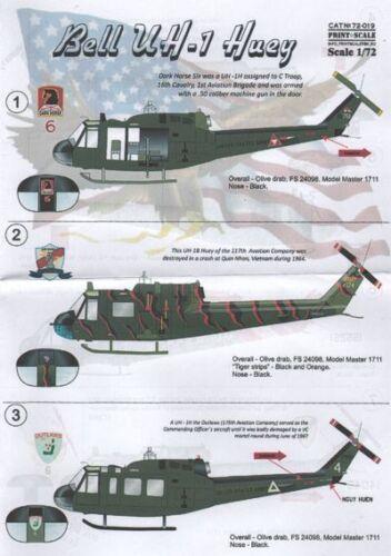 Print Scale 1//72 Bell UH-1B//UH-1D Huey # 72019