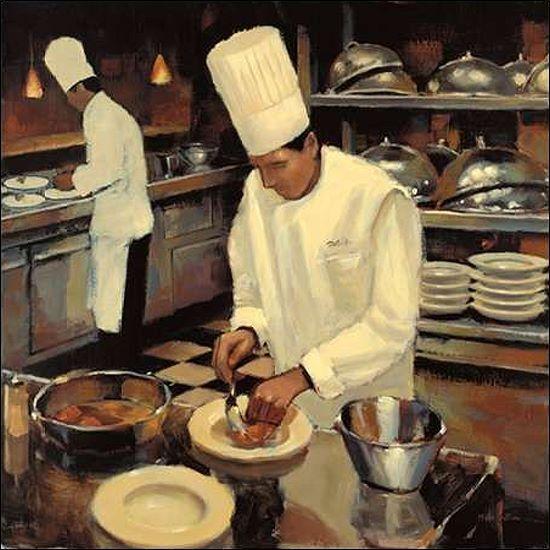 Myles Sullivan; Bistro Cuisine Keilrahmen-Bild Leinwand Küche Koch Köche