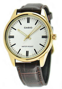 Casio-Men-039-s-Quartz-Gold-Tone-Stainless-Steel-Brown-Leather-Watch-MTPV005GL-7A
