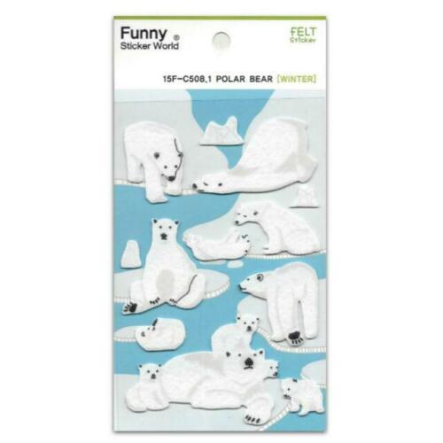 CUTE COZY POLAR BEAR STICKERS Fun Paper Sticker Sheet Kawaii Kid Craft Scrapbook
