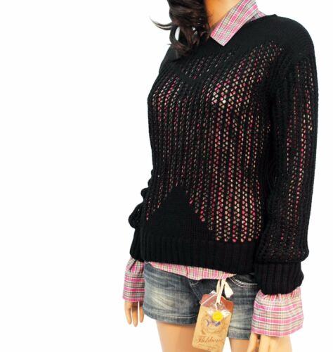 Ladies CROCHET Aperto Maglione Maglieria scollo tondo manica lunga nero rosso 10 12