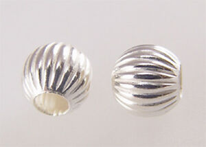 #731 sterling silver corrugated round beads of 3mm-6mm