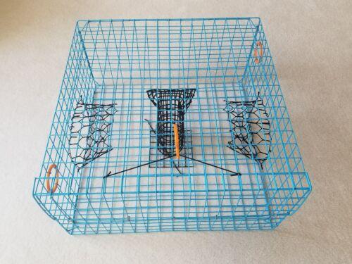 Blue Commercial Grade heavy Duty Crab Pot Trap 24 X 24 X 12 w// Float /& Line