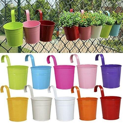 10 X Garden Metal Flower Pots Wall Hanging Bucket Herb Planter For Balcony GA