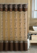 Chocolate Brown Two-Layered Embroidered Fabric Shower Curtain, Attached Valance